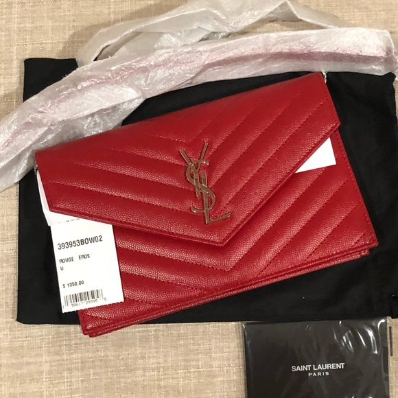 Saint Laurent Bags   New Wallet On Chain Small Red Silver   Poshmark 854ae44f04